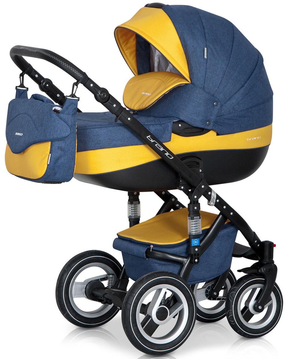 Riko Коляска 2 в 1 Brano цвет синий желтый5901812682659Детская коляска BRANO от Польского производителя RIKO предназначена для детей с рождения и до 3-х лет. Модная, удобная и функциональная – новая модель в современном, стильном дизайне. Коляска BRANO обеспечит крохе самые лучшие условия для увлекательных прогулок и комфортного полноценного сна во время прогулок на свежем воздухе. Малыш будет прекрасно себя чувствовать в просторной люльке, а комфортное прогулочное сиденье для подросшего ребенка предоставит наилучшие условия для изучения окружающего мира. Эта модель коляски на алюминиевой раме обладает отличной проходимостью за счет легкого хода и надувных колес. Коляска маневренная благодаря поворотным передним колесам. Современная система амортизации колес позволяет легко преодолевать любые препятствия на прогулке, и при этом сохраняется мягкость хода, обеспечивая спокойный сон вашего малыша. Коляска BRANO укомплектована просторной и комфортной люлькой и прогулочным блоком, которые легко устанавливаются на раму как по ходу, так и...