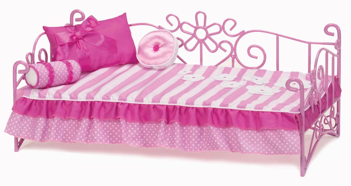 Our Generation Мебель для кукол Кровать цвет розовый11516Мебель для кукол Our Generation Кровать - восхитительная розовая кровать для куклы ростом 46 см, которая обязательно понравится вашей малышке. Куклы тоже устают, им тоже нужно ежедневно спать и отдыхать. Именно поэтому каждая из них нуждается в собственной уютной кроватке. В набор входят металлическая кровать, матрац, покрывало, большая подушка с ленточкой, длинная подушка, круглая подушечка, каталог модной одежды. Кукла в комплект не входит! Порадуйте свою дочурку таким замечательным подарком!