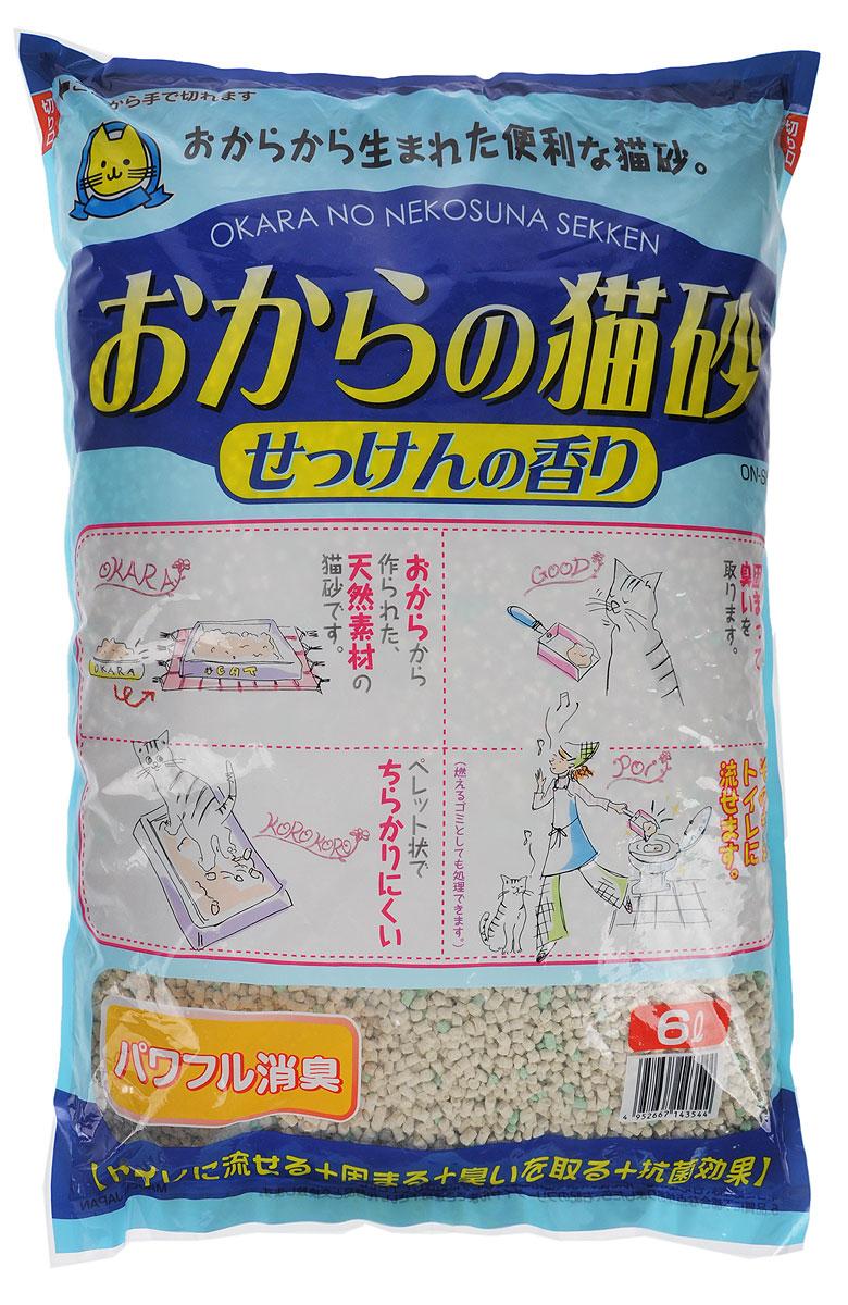 Наполнитель для кошачьего туалета Hitachi Okara, с ароматом мыла, 6 л143544Наполнитель для кошачьего туалета Hitachi Okara изготовлен из натуральных компонентов, которые быстро адсорбируют влагу и превращают кошачьи выделения в комочки, растворимые в воде. Для утилизации достаточно смыть комочки использованного наполнителя в унитаз. Наполнитель предотвращает распространение неприятного запаха и купирует размножение бактерий. Благодаря натуральной основе, животное быстро привыкает к наполнителю. Изделие содержит специальные ароматизированные гранулы. Состав: окара, карбонат кальция, крахмал, антибактериальный компонент, проклеивающиеся компоненты, антиоксидант, отдушки, красители. Товар сертифицирован.