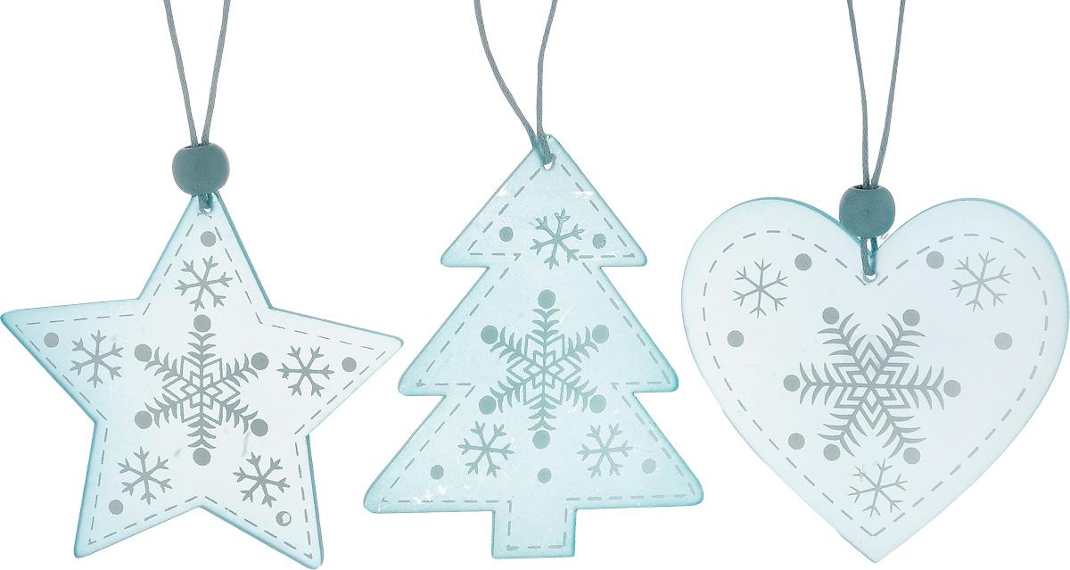 Набор новогодних подвесных украшений House & Holder Новогодний, цвет: голубой, белый, 3 штDP-C40-13-15948Набор подвесных украшений House & Holder Новогодний прекрасно подойдет для праздничного декора новогодней ели. Набор состоит из 3 пластиковых украшений в виде звезды, сердца, ели. Для удобного размещения на елке для каждого украшения предусмотрено петелька. Елочная игрушка - символ Нового года. Она несет в себе волшебство и красоту праздника. Создайте в своем доме атмосферу веселья и радости, украшая новогоднюю елку нарядными игрушками, которые будут из года в год накапливать теплоту воспоминаний. Откройте для себя удивительный мир сказок и грез. Почувствуйте волшебные минуты ожидания праздника, создайте новогоднее настроение вашим дорогим и близким. Размер звезды: 8 х 7,5 см. Размер сердца: 7 х 6,5 см. Размер ели: 7 х 8 см.