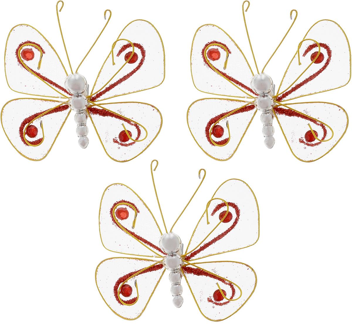 Набор новогодних подвесных украшений House & Holder Бабочки, 3 шт. G6347/8GG6347/8GНабор подвесных украшений House & Holder Бабочки прекрасно подойдет для праздничного декора новогодней ели. Набор состоит из 3 пластиковых украшений в виде бабочек. Для удобного размещения на елке для каждого украшения предусмотрено крепление. Елочная игрушка - символ Нового года. Она несет в себе волшебство и красоту праздника. Создайте в своем доме атмосферу веселья и радости, украшая новогоднюю елку нарядными игрушками, которые будут из года в год накапливать теплоту воспоминаний. Откройте для себя удивительный мир сказок и грез. Почувствуйте волшебные минуты ожидания праздника, создайте новогоднее настроение вашим дорогим и близким. Размер: 7,5 х 7,5 х 1,5 см.