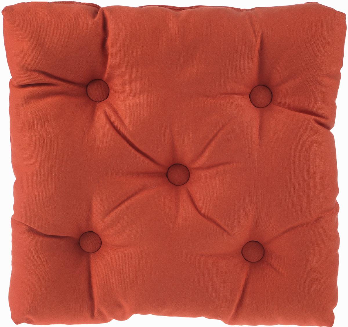Подушка на стул KauffOrt Комо, цвет: темно-оранжевый, 40 x 40 см3121050130Подушка на стул KauffOrt Комо не только красиво дополнит интерьер кухни, но и обеспечит комфорт при сидении. Чехол выполнен из хлопка, а наполнитель из холлофайбера. Подушка легко крепится на стул с помощью завязок. Правильно сидеть - значит сохранить здоровье на долгие годы. Жесткие сидения подвергают наше здоровье опасности. Подушка с мягким наполнителем поможет предотвратить большинство нежелательных последствий сидячего образа жизни. Толщина подушки: 10 см.