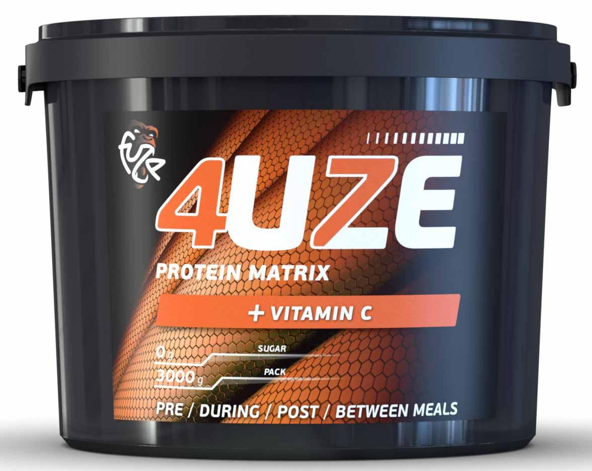 Протеин 4UZE + Vitamin C, клубника, 3000 г