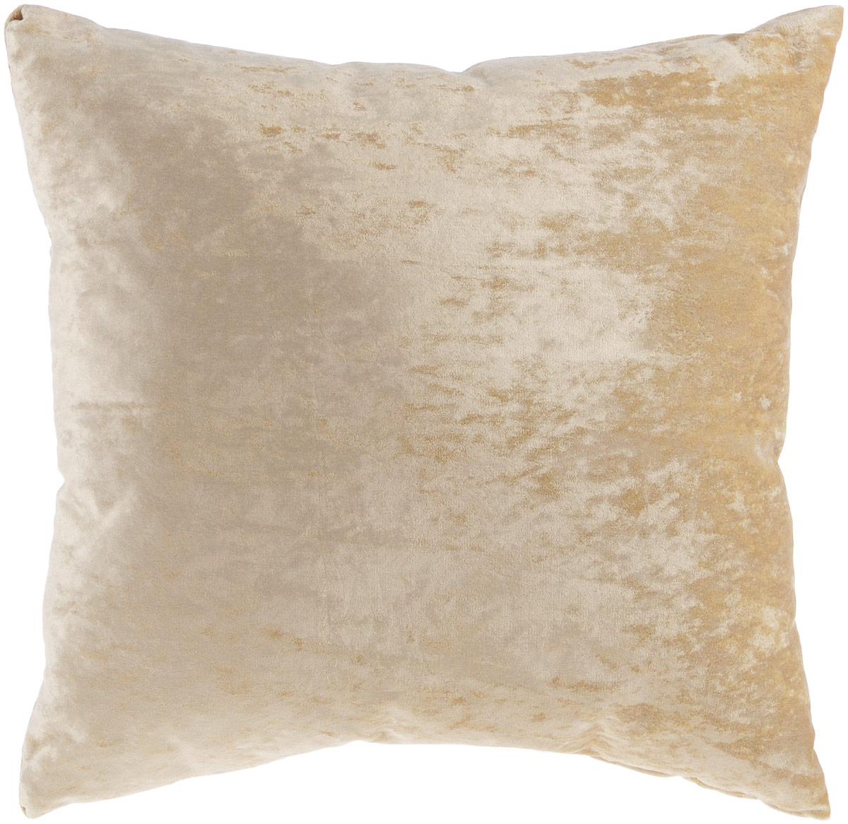 Подушка декоративная KauffOrt Бархат, цвет: бежевый, 40 x 40 см3121039625Декоративная подушка Бархат прекрасно дополнит интерьер спальни или гостиной. Бархатистый на ощупь чехол подушки выполнен из 49% вискозы, 42% хлопка и 9% полиэстера. Внутри находится мягкий наполнитель. Чехол легко снимается благодаря потайной молнии. Красивая подушка создаст атмосферу уюта и комфорта в спальне и станет прекрасным элементом декора.