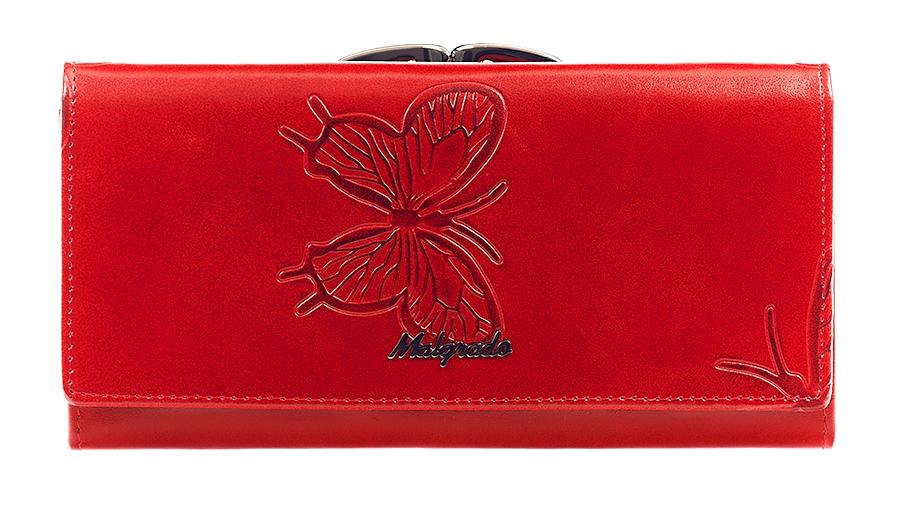 Кошелек женский Malgrado, цвет: красный. 72031-3-7003D72031-3-7003DСтильный кошелек Malgrado изготовлен из лаковой натуральной кожи красного цвета с декоративным тиснением в виде бабочек и вмещает в себя купюры в развернутом виде в полную длину. Внутри содержит три отделения для купюр, один дополнительный карман на молнии, один отдел для мелочи, который закрывается на рамочный замок и расположен снаружи кошелька. Также в кошельке расположены четыре кармана для дисконтных карт, визиток, кредиток, один прозрачный кармашек, в который можно положить пропуск, проездной документ или фотографию и дополнительный потайной карман. Закрывается кошелек клапаном на кнопку. Кошелек упакован в подарочную металлическую коробку с логотипом фирмы. Такой кошелек станет замечательным подарком человеку, ценящему качественные и практичные вещи. Характеристики: Материал: натуральная кожа, текстиль, металл. Размер кошелька: 18,5 см х 9 см х 3 см. Цвет: красный. Размер упаковки: 23 см х 13 см х 4,5 см. Артикул: 72031-3-7003D .