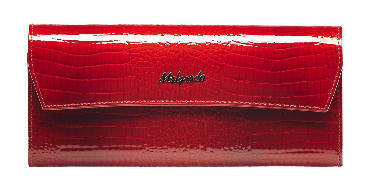 Кошелек женский Malgrado, цвет: красный. 75504-44#75504-44# Red Кошелек Бол. MalgradoСтильный кошелек Malgrado выполнен из лаковой натуральной кожи красного цвета с декоративным тиснением под рептилию, застегивается клапаном на кнопку. Внутри содержит два горизонтальных кармана для бумаг, девять кармашков для кредитных карт, отделение на молнии для мелочи и два отделения для купюр. На задней стороне кошелька расположен открытый кармашек. Кошелек упакован в подарочную металлическую коробку с логотипом фирмы. Такой кошелек станет замечательным подарком человеку, ценящему качественные и практичные вещи. Характеристики: Материал: натуральная кожа, текстиль, металл. Размер кошелька: 19 см х 10 см х 2 см. Цвет: красный. Размер упаковки: 23 см х 13 см х 4,5 см. Артикул: 75504-44.