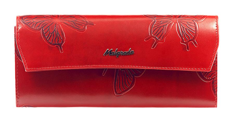 Кошелек женский Malgrado, цвет: красный. 75504-7003D Red75504-7003D RedЖенский кошелек Malgrado выполнен из натуральной кожи высшего качества с декоративным тиснением в виде бабочек. Внутри кошелек содержит четыре отделения для купюр, отделение для мелочи на молнии, карман для бумаг и чеков, девять кармашков для кредитных карт или визиток. Закрывается кошелек клапаном на кнопку. На задней стенке с лицевой стороны расположен дополнительный открытый карман для бумаг. Кошелек упакован в фирменную металлическую коробку. Характеристики: Материал: натуральная кожа, текстиль, металл. Цвет: красный. Размер кошелька: 19,5 см х 9 см х 2 см. Размер упаковки: 23 см х 12,5 см х 4,5 см. Артикул: 75504-7003D.