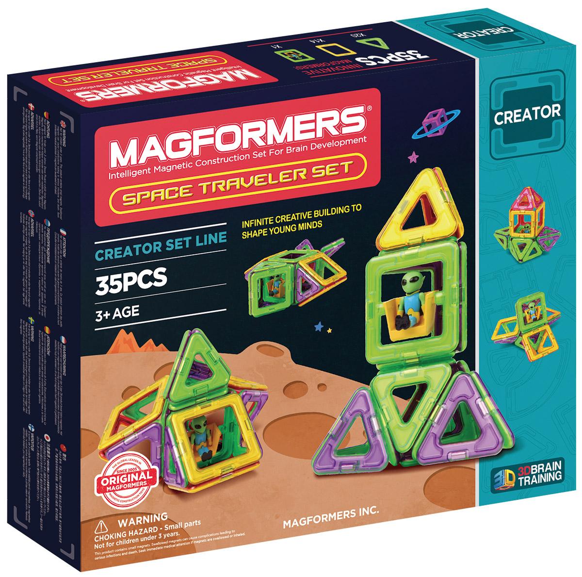 Magformers Магнитный конструктор Space Traveler Set703007Новый набор Magformers Space Traveler посвящен приключениям забавного инопланетянина с планеты Кубоктаэдр. Он путешествует по таинственной галактике Магформерс, где все объекты — геометрические тела, состоящие из квадратов и треугольников. Помогите ему раскрыть все тайны загадочной галактики! Из ярких квадратов и треугaольников необходимо собрать межпланетный транспорт для зеленого человечка. Это может быть космический шаттл, летающая тарелка или ракета. Вы можете подобрать для них форму по своему желанию. Прибыв на планету, изучите вместе с инопланетянином особенности каждой из них. Они имеют различные геометрические формы: куб, октаэдр или тетраэдр. Вы сможете узнать особенности каждой сложной фигуры и из каких простых фигур она состоит. Space Traveler - один из самых увлекательных конструкторов Магформерс. Особенностью набора является фигурка инопланетянина, ранее не встречавшаяся ни в одном другом наборе. В комплект входит иллюстрированное пособие, в...