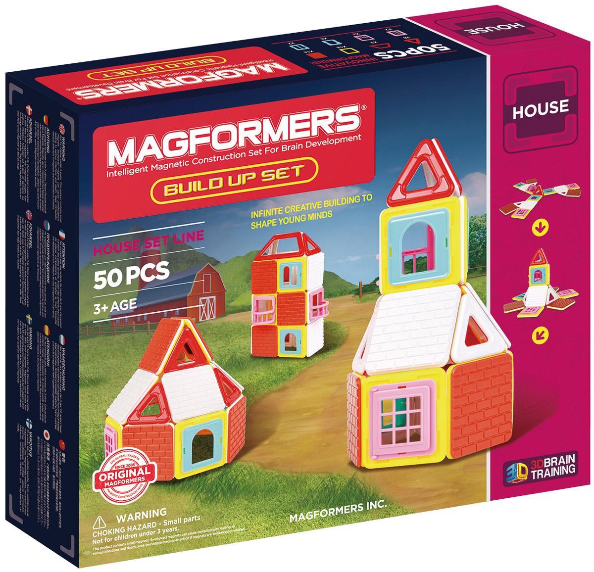 Magformers Магнитный конструктор Build Up Set705003Magformers Build Up Set — представитель серии строительных наборов Магформерс, куда входят также Magformers Village Set и Magformers Sweet House Set. Для наборов серии характерны уникальные строительные аксессуары и дизайн элементов из непрозрачного пластика. Набор Magformers Build Up порадует маленьких архитекторов. В нем представлены различные строительные аксессуары: крыши, стены, двери, окна. C этими элементами легко построить надежный и уютный дом. В набор также входит Книга идей. С ней Вы легко соберете чудесный замок. Нужно всего лишь разложить детали Магформерс как показано на иллюстрации, потянуть верх — и замок перед Вами! Все элементы набора, включая строительные аксессуары, полностью совместимы со всеми остальными конструкторами Магформерс, так что вы можете воспользоваться уже имеющимися у вас деталями в качестве дополнительных строительных элементов. Набор Magformers Build Up содержит 50 элементов: треугольник: 8 шт. квадрат: 18 шт....
