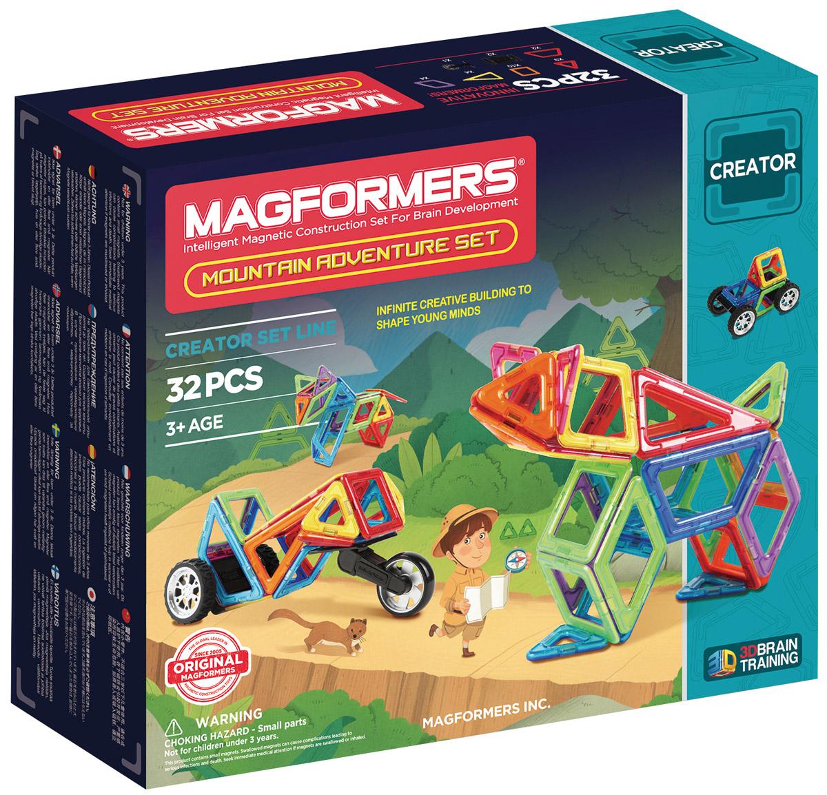 Magformers Магнитный конструктор Adventure Mountain 32 Set703011Набор Magformers Mountain Adventure - представитель новой серии, посвященной путешествиям. С ним вы отправитесь покорять неприступные горные вершины. Чтобы передвигаться по крутым и узким горным дорогам, понадобится специальный транспорт. Детали набора позволяют собрать различные внедорожники и горные мотоциклы. Особенностью набора являются крупные двойные колеса и мотоциклетные колеса, незаменимые при путешествии по горной местности. Колеса крепятся особым образом: они вставляются в специальный паз, что придает им дополнительную прочность и возможность покорить гористый рельеф. Помимо техники, из деталей набора можно собрать различных животных, обитающих в горной местности: тигра, волка, медведя и других. К конструктору прилагается красочная Книга идей с подробными схемами сборки транспорта и зверей. Набор Magformers Mountain Adventure станет прекрасным дополнением к уже имеющейся коллекции Магформерс. Набор Magformers Mountain Adventure содержит 32 элемента: ...