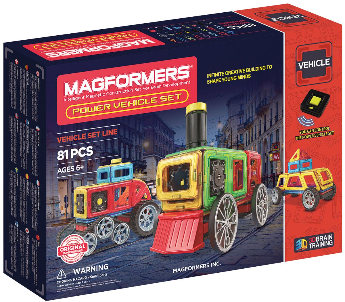 Magformers Магнитный конструктор Power Vehicle Set707011Набор Маgformers Power Vehicle станет идеальным подарком для юных механиков. В нем представлены три вида колес: гусеницы, большие колеса, паровозные колеса. Кроме того, в комплект входят моторный блок, разнообразные поршни и коннекторы, чтобы привести постройки в движение! С Маgformers Power Vehicle Set ребенок сможет сконструировать самые разнообразные виды транспорта - от паровозы до гоночного автомобиля. В набор также входит пульт дистационного управления, благодаря собранные мадели смогут учавствовать в гонках. Набор Magformers Power Vehicle содержит 81 элемент: треугольник 12 шт. равнобедренный треугольник х 4 шт. квадрат х 10 шт. прямоугольник х 8 шт. суперпрямоугольник х 2 шт. мини-прямоугольник х 4 шт. ромб х 4 шт. трапеция х 4 шт. супер-трапеция х 2 шт. мини-сектор х 4 шт. мини-арка х 2 шт. клик-колеса х 2 шт. крыло колеса х 1 шт. новое большое колесо х 4 шт. новые гусеничные колеса х 2 шт. паровозное колесо х 4 шт. тракторный...
