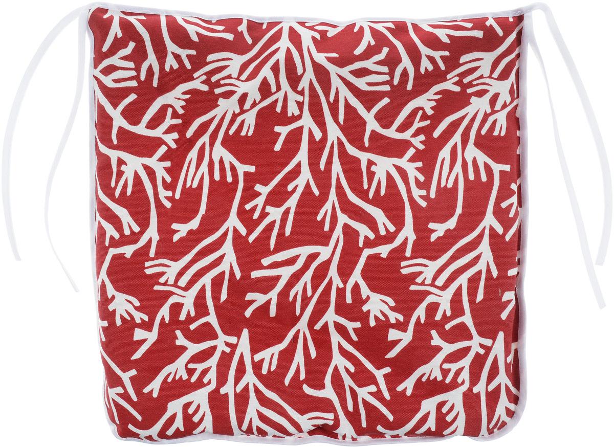 Подушка на стул KauffOrt Красное море, цвет: красный, белый, 40 x 40 см3112613140Подушка на стул KauffOrt Красное море не только красиво дополнит интерьер кухни, но и обеспечит комфорт при сидении. Чехол выполнен из хлопка и полиэстера, а наполнитель из холлофайбера. Подушка легко крепится на стул с помощью завязок. Правильно сидеть - значит сохранить здоровье на долгие годы. Жесткие сидения подвергают наше здоровье опасности. Подушка с мягким наполнителем поможет предотвратить большинство нежелательных последствий сидячего образа жизни. Толщина подушки: 5 см.