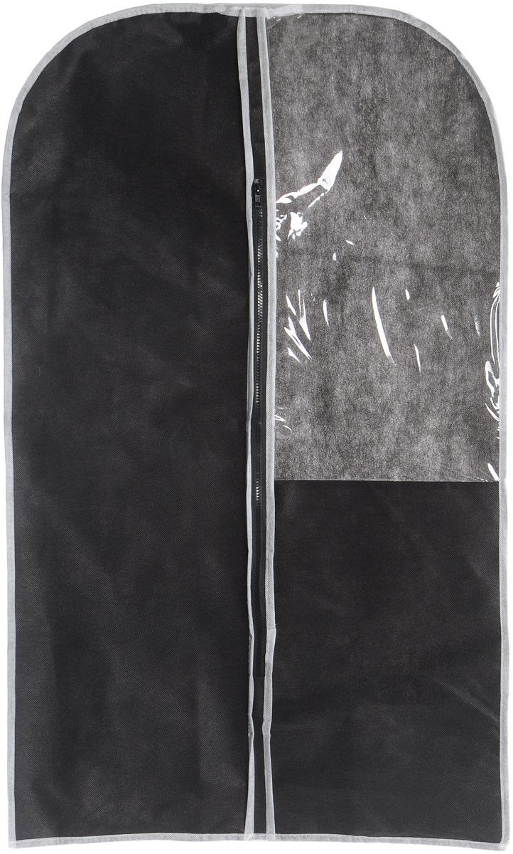 Чехол для одежды Eva, с прозрачной вставкой, цвет: черный, белый, 60 х 100 смЕ1603Чехол для одежды Eva изготовлен из высококачественного нетканого материала. Особое строение полотна создает естественную вентиляцию: материал дышит и позволяет воздуху свободно проникать внутрь чехла, не пропуская пыль. Это особенно необходимо для меховой, кожаной и шерстяной одежды. Благодаря форме чехла, одежда не мнется даже при длительном хранении. Чехол застегивается на молнию. Для удобства изделие имеет прозрачное окошко. Чехол для одежды будет очень полезен при транспортировке вещей на близкие и дальние расстояния, при длительном хранении сезонной одежды, а также при ежедневном хранении вещей из деликатных тканей. Чехол для одежды не только защитит ваши вещи от пыли и влаги, но и поможет доставить одежду на любое мероприятие в идеальном состоянии. Размер чехла: 60 х 100 см.
