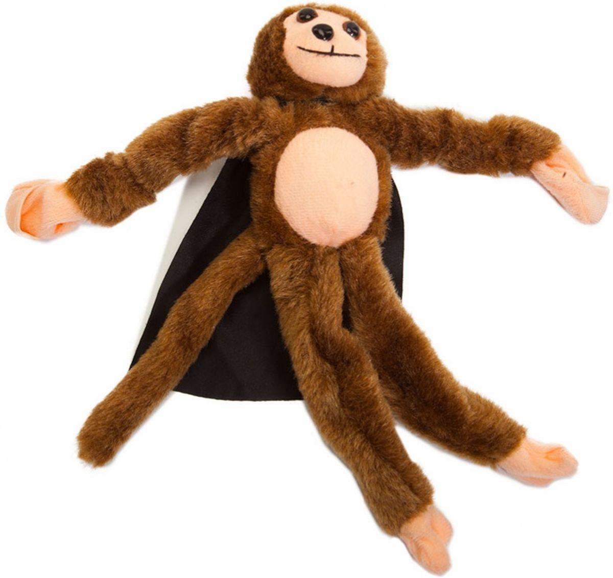 Bradex Рогатка Обезьянка плюшеваяDE 0187Мягкая плюшевая обезьянка с резиновыми трубками в руках запускается в воздух при помощи указательного и среднего пальца по принципу рогатки. Одета в плащ и маску, имеет кармашки на лапках, издает обезьяний крик при столкновении или падении, может использоваться как обычная мягкая игрушка.
