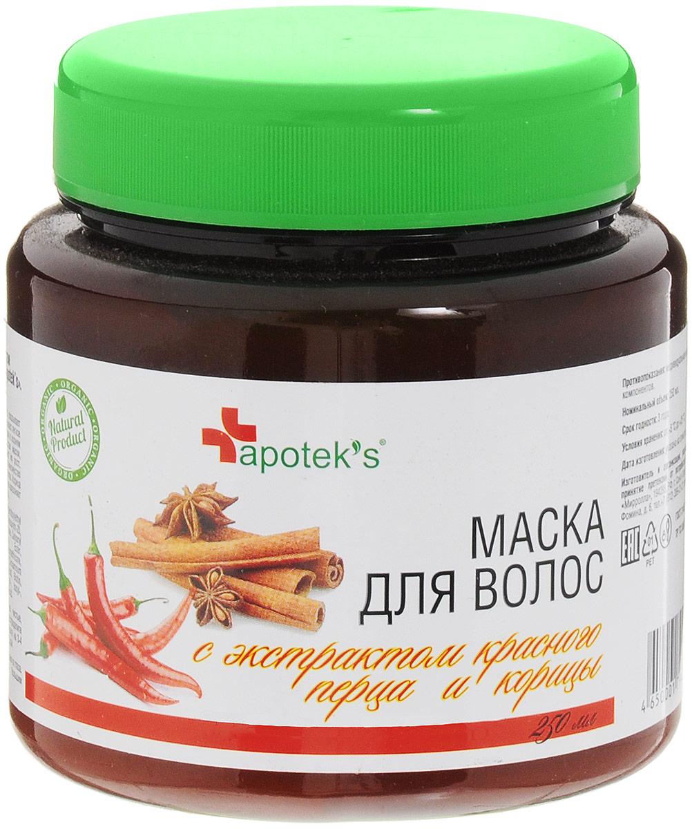 Маска для волос с экстрактом красного перца и корицы (Apoteks)
