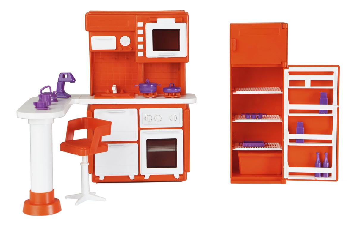 Огонек Набор мебели для кукол Кухня Конфетти цвет оранжевый1339Набор мебели для кукол Огонек Кухня Конфетти понравится вашей малышке и дополнит ее кукольный домик. При помощи набора ваша дочурка может обустроить в кукольном домике замечательную кухню для своих любимых кукол. Предметы мебели выполнены в ярких тонах. Мебель складывается по специальной схеме, которая также есть в комплекте. Все шкафчики и двери в наборе открываются. Кухня состоит из плиты с раковиной, холодильника, стола, стульчика и набора посуды и аксессуаров. С этим набором, ваш ребенок может наглядно увидеть каким образом должны быть устроены разные помещения, формируя нормальное понимание окружающего мира. Все элементы столовой выполнены из качественных и безопасных материалов.