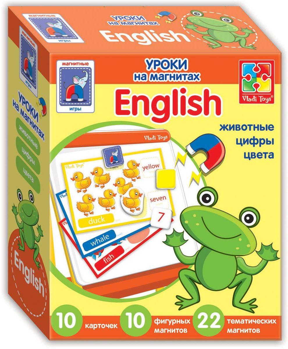 Vladi Toys Обучающая игра English ЖивотныеVT1502-10Обучающая игра Vladi Toys English. Животные поможет ребенку изучить некоторые английские слова с помощью 10 карточек с заданиями и множества мягких фигурных магнитов. Темы - животные, цифры и цвета. В набор входят 32 мягких магнита, 10 карточек с заданиями и книжка-пособие.