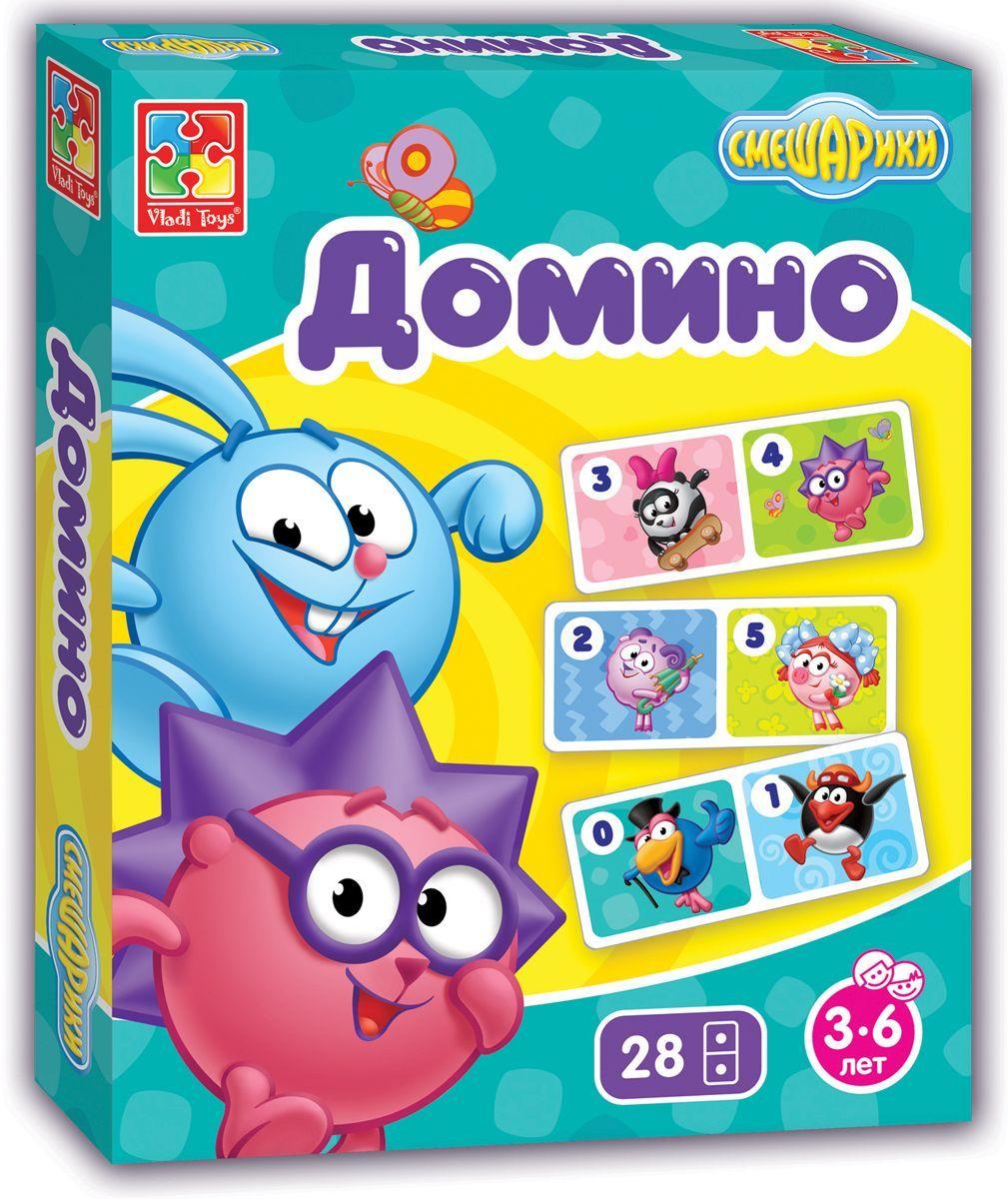 Vladi Toys Обучающая игра Смешарики VT2105-01VT2105-01Обучающая игра Vladi Toys Смешарики - веселая игра для семейного досуга. Правила такие же, как и в обычной игре Домино. В комплект входят 28 доминошек. Количество игроков: от 2-х до 4-х.