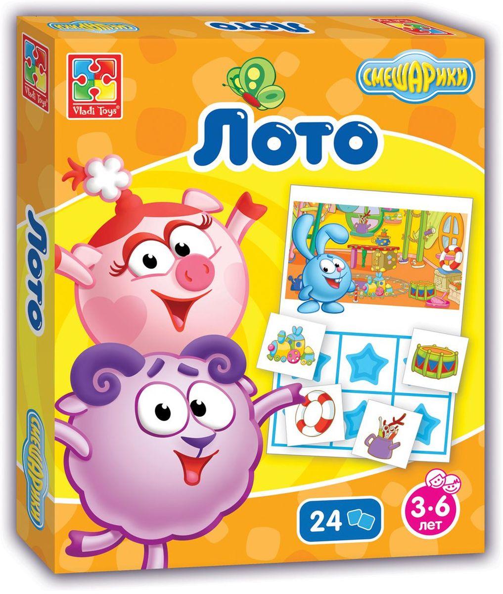 Vladi Toys Обучающая игра Смешарики VT2105-02VT2105-02Обучающая игра Vladi Toys Смешарики - веселая игра для семейного досуга. Правила такие же, как и в обычной игре Лото. В комплект входят 4 игровых поля и 24 игровых фишки. Количество игроков: от 2-х до 4-х.