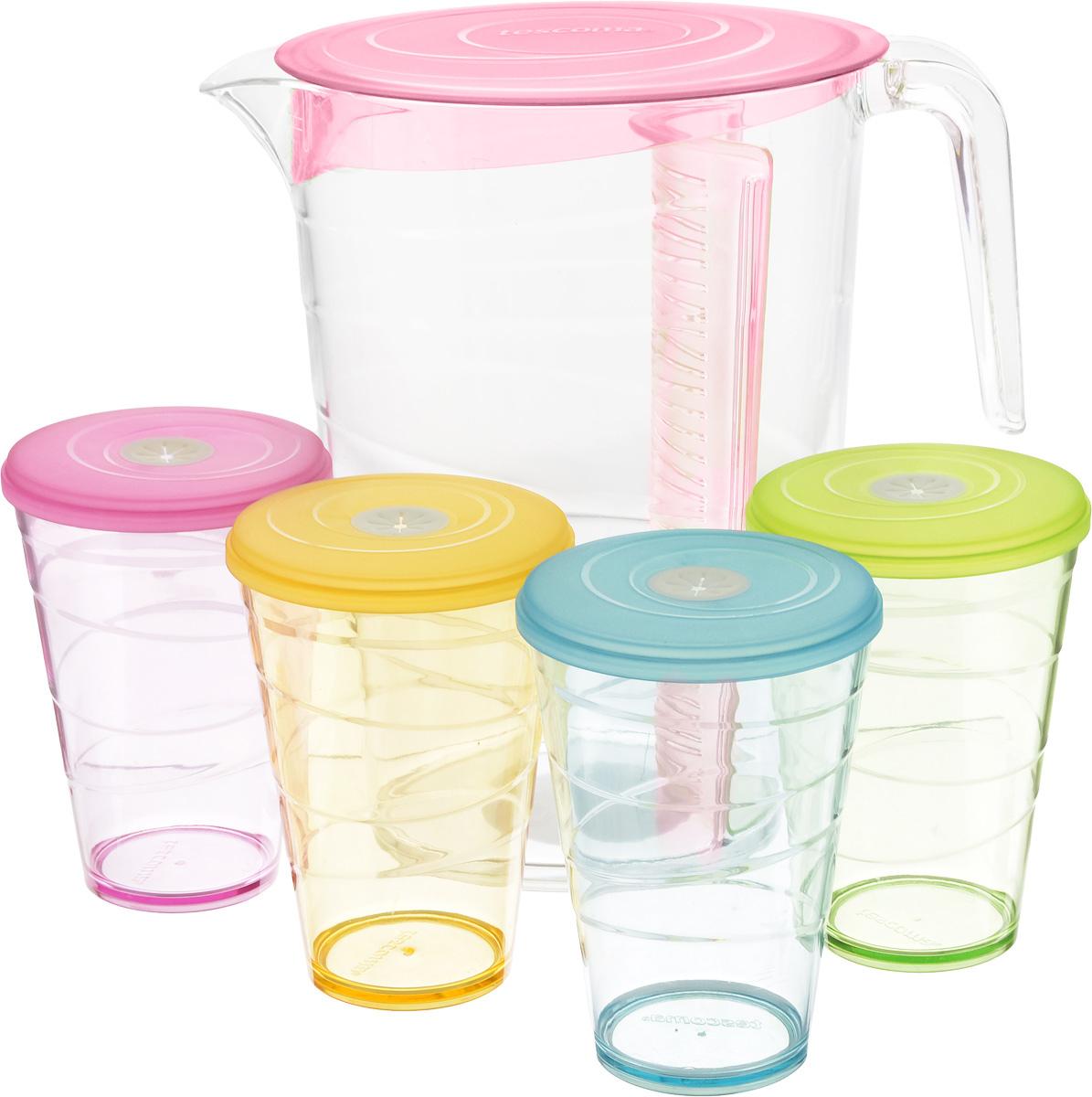 Набор питьевой Tescoma My Drink, цвет: розовый, 9 предметов308802.19Набор питьевой Tescoma My Drink - великолепное решение для летних прохладительных напитков! Набор состоит из кувшина и 4 стаканов. Для изготовления кувшина и стаканов используется первоклассный нетоксичный пластик, пригодный для долгосрочного контакта с пищевыми продуктами и не содержащий химических добавок. Кувшин оснащен специальной перегородкой для фруктов и листьев мяты, которая позволяет не допускать смешивания с основной жидкостью в кувшине. Это избавит вас от дополнительной фильтрации лимонада. Перегородку удобно снимать и чистить. В комплект входят 4 стакана разного цвета, каждый из которых оснащен крышкой с гибким отверстием для соломинки. Можно мыть в посудомоечной машине на щадящих программах, выдерживает температуру до 60°С. Размер кувшина (по верхнему краю): 12 х 18 см. Высота кувшина: 23 см. Объем кувшина: 2,5 л. Диаметр стакана (по верхнему краю): 8,5 см. Высота стакана: 12 см. Объем стакана: 400...