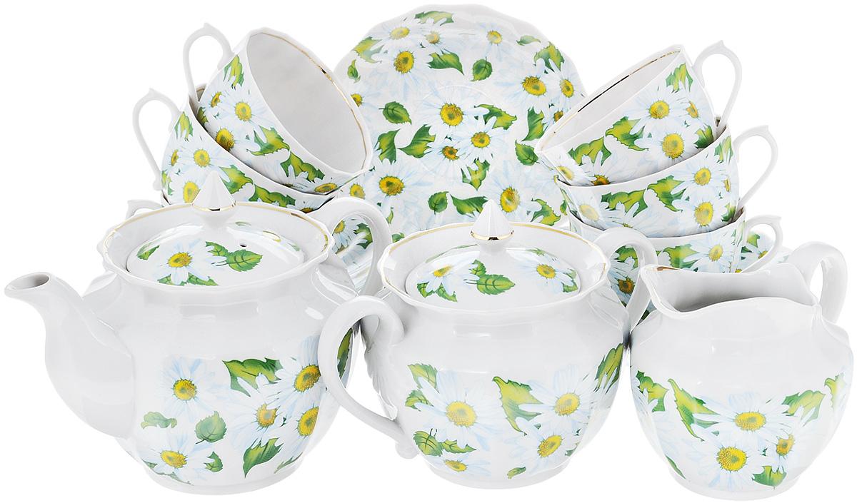 Сервиз чайный Фарфор Вербилок Любит - не любит, 15 предметов3522000Чайный сервиз Фарфор Вербилок Любит - не любит состоит из 6 чашек, 6 блюдец, сахарницы, заварочного чайника и сливочника. Изделия выполнены из высококачественного фарфора и оформлены красивым рисунком с изображением ромашек. Изящный чайный сервиз прекрасно оформит стол к чаепитию и порадует вас элегантным дизайном и качеством исполнения. Объем чайника: 600 мл. Высота чайника (без учета крышки): 11 см. Диаметр чайника (по верхнему краю): 10,5 см. Высота сахарницы (без учета крышки): 8 см. Диаметр сахарницы (по верхнему краю): 10,5 см. Объем сахарницы: 600 мл. Объем сливочника: 350 мл. Размер сливочника (по верхнему краю): 9 х 7 см. Высота сливочника: 10 см. Объем чашки: 200 мл. Диаметр чашки (по верхнему краю): 8,5 см. Высота чашки: 6 см. Диаметр блюдца: 14,5 см. Высота блюдца: 2,5 см.