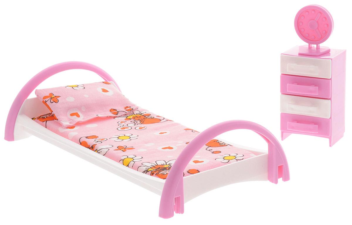 Форма Набор мебели для кукол Кровать с тумбочкой цвет розовыйС-50-Ф_розовыйНабор мебели для кукол Форма Кровать с тумбочкой изготовлен для кукол не выше 20 см. Эти предметы мебели создают настоящий уют в кукольной спальне. Игровой набор мебели включает в себя кроватку для куклы с постельным бельем, тумбочку (у тумбочки выдвигаются ящички) и часы, которые можно установить на тумбочку. Весь набор изготовлен из прочного и безопасного материала. Порадуйте свою малышку таким замечательным подарком!