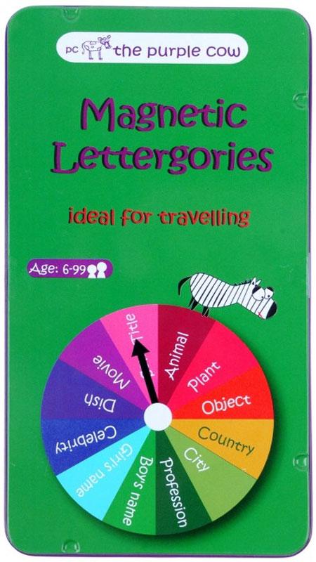 The Purple Cow Обучающая игра Magnetic Lettergories026054Суть обучающей игры The Purple Cow Magnetic Lettergories заключается в том, что игроки должны называть слова на заранее выбранную букву из категории, на которую покажет стрелка. Кто первый назовет правильное слово, тот получит магнит своего цвета. Победителем является игрок, первым собравший 10 магнитов.