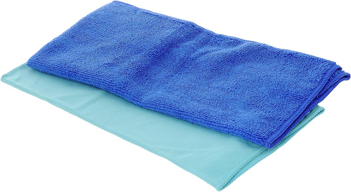 Набор салфеток для мытья и полировки автомобиля Sapfire Cleaning Сloth & Suede, цвет: голубой,синий, 35 х 40 см, 2 штSFM-3069Набор многофункциональных салфеток Sapfire Cleaning Cloth & Suede выполнен из микрофибры и искусственной замши. Каждая нить после специальной химической обработки расщепляется на 12-16 клиновидных микроволокон. Микрофибровое полотно удаляет грязь с поверхности намного эффективнее, быстрее и значительно более бережно в сравнении с обычной тканью, что существенно снижает время на проведение уборки, поскольку отсутствует необходимость протирать одно и то же место дважды. Набор обладает уникальной способностью быстро впитывать большой объем жидкости. Клиновидные микроскопические волокна захватывают и легко удерживают частички пыли, жировой и никотиновый налет, микроорганизмы, в том числе болезнетворные и вызывающие аллергию. Нежная текстура искусственной замши идеально подходит для сухой протирки деликатных поверхностей. Салфетка великолепно удаляет пыль и грязь. Протертая поверхность становится идеально чистой, сухой, блестящей, без разводов и ворсинок. Микрофибра...