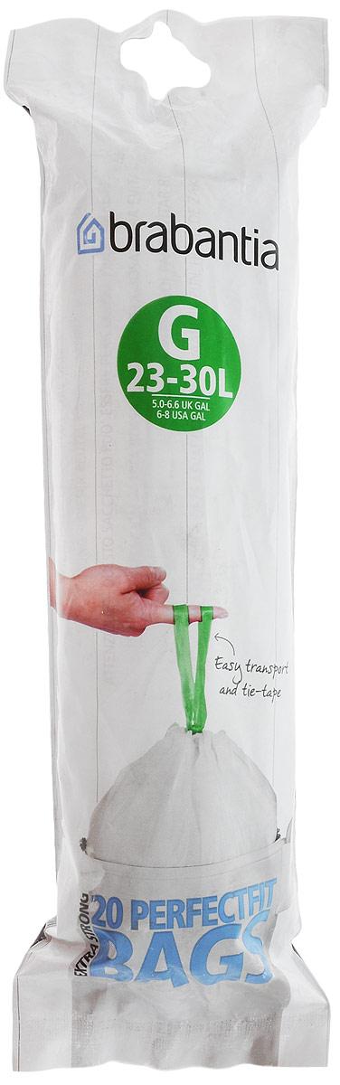 Пакеты для мусора Brabantia, 23-30 л, 20 шт246265_новый дизайнОдноразовые пакеты Brabantia, выполненные из пластика, предназначены для мусорного бака. Предотвращают загрязнение бака, удобны в использовании и имеют затягивающиеся ручки, которые позволяют затянуть пакет и завязать его. Пакеты имеют универсальный размер и подходят для баков различных объемов (от 23 до 30 л). Особенности: - простая и удобная в использовании плоская упаковка-дозатор с большим отверстием; - легко вытащить новый мешок, так как они не связаны друг с другом, как в рулонах; - затяжная лента позволяет быстро и легко сменить пакет для мусора: просто потяните за ленту, она аккуратно запечатает горловину мешка и превратится в крепкие ручки. Объем мешка: 23-30 л. Количество в упаковке: 20 шт.