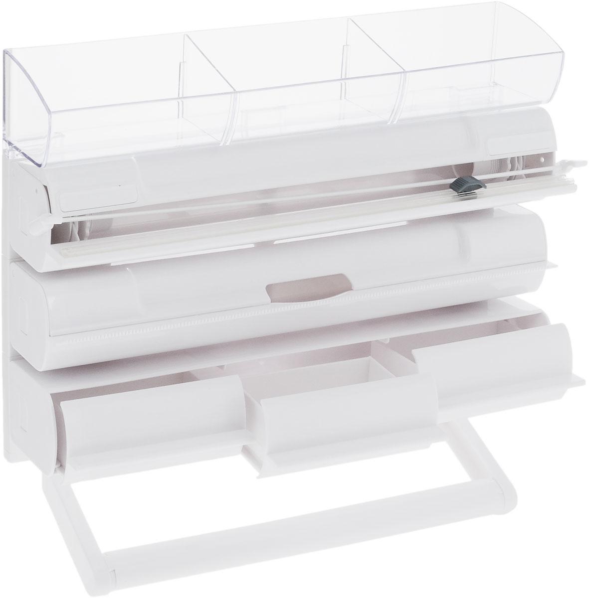 Органайзер кухонный Tescoma On Wall. 5 в 1, 30 х 38,5 х 8,5 см899724Органайзер кухонный Tescoma On Wall. 5 в 1 выполнен из высококачественного пластика. Применяется для хранения и использования пищевой пленки, алюминиевой фольги и бумажных полотенец. Размещается на стене. Имеет прозрачную полку с тремя выдвижными ящиками для хранения мелких кухонных принадлежностей. Диспенсеры для пищевой пленки / алюминиевой фольги можно извлечь из органайзера и использовать отдельно. Конец пленки не прилипает к диспенсеру. В комплекте прилагаются инструкции и крепежи. Общий размер органайзера: 30 х 38,5 х 8,5 см.