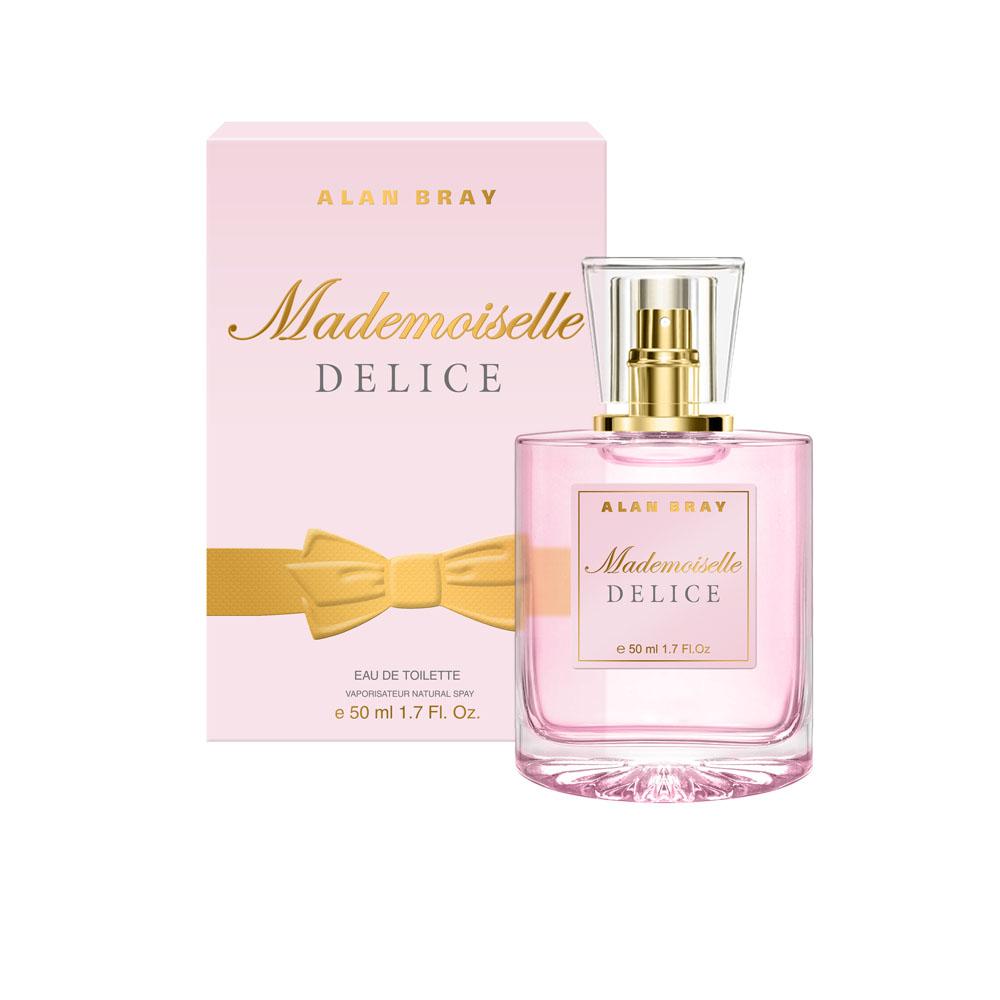Alan Bray Mademoiselle Delice Туалетная вода 50 мл2001011613Mademoiselle Delice – Восхитительно нежный аромат Delice пробуждает энергию и радость жизни, наполняя легкостью и очарованием. Волнующий и изящный, он закружит в вихре безграничной фантазии. верхние ноты: лимон, бергамот, апельсин, черная смородина. ноты «сердца»: жасмин, роза, персик, водные цветы.ноты шлейфа: кедр, белый мускус, тиковое дерево, ваниль