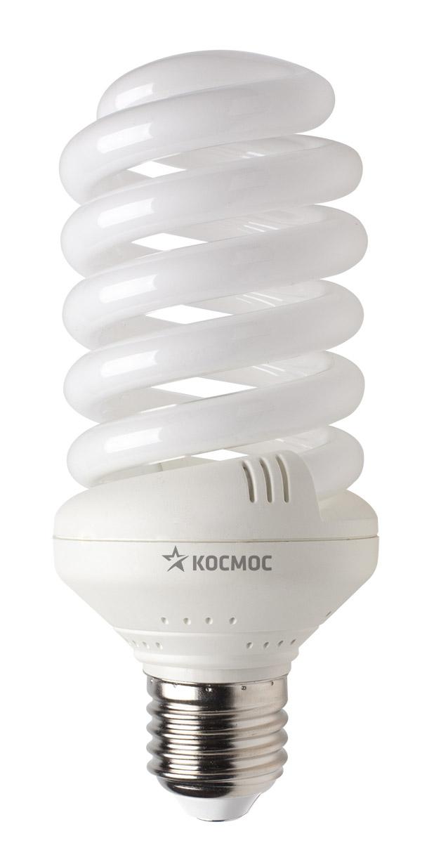 Лампа энергосберегающая Космос, свет: теплый. Модель Т3 SPC 35W E2727LKsmSPC35wE2727Энергосберегающая лампа Космос теплого света способствует расслаблению, ее лучше использовать в спальнях, местах для отдыха. Сфера применения энергосберегающей лампы Космос та же, что и у лампы накаливания, но данная лампа имеет ряд преимуществ: температура колбы ниже, чем у ламп накаливания, что позволяет использовать энергосберегающие лампы в тканевых абажурах без риска их выцветания и возникновения пожара; полностью заменяет галогенные и обычные лампы накаливания. Колба лампы имеет защитное покрытие, препятствующее ультрафиолетовому излучению. Не содержат паров ртути: технология амальгамной дозировки обеспечивает более стабильный поток не только в течение всего срока службы лампы, но также при изменении температуры окружающей среды и рабочего положения лампы. Применение РТС-термистра с положительным коэффициентом температуры, осуществляющего плавный старт лампы, позволяет производить до 500000 включений-выключений лампы, что увеличивает срок службы лампы. Применение...