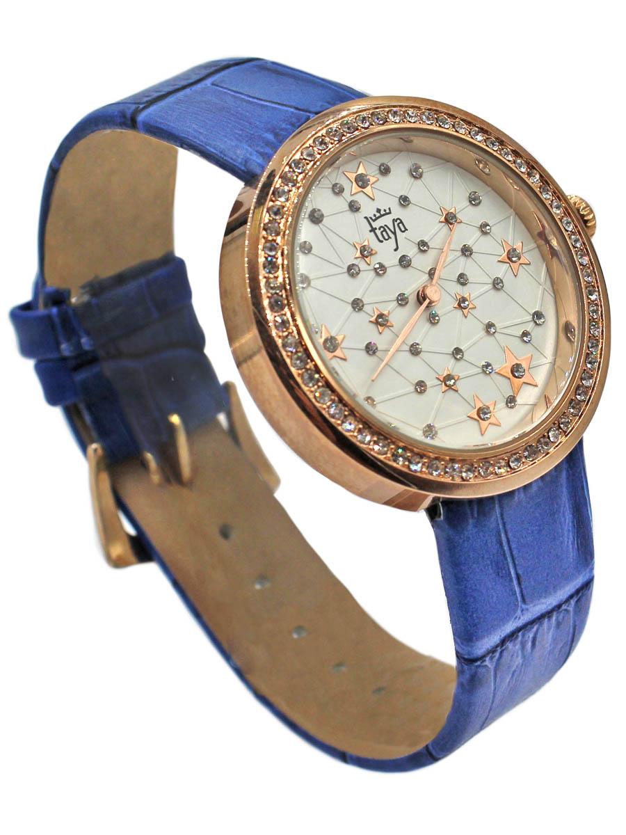 Часы наручные женские Taya, цвет: золотистый, синий. T-W-0040T-W-0040-WATCH-GL.BLUEСтильные женские часы Taya выполнены из минерального стекла, натуральной кожи и нержавеющей стали. Циферблат и корпус часов инкрустированы стразами. Корпус часов оснащен кварцевым механизмом со сменным элементом питания, а также ремешком из натуральной кожи, который застегивается на пряжку. Ремешок декорирован тиснением под кожу рептилии. Часы поставляются в фирменной упаковке. Часы Taya подчеркнут изящность женской руки и отменное чувство стиля у их обладательницы.