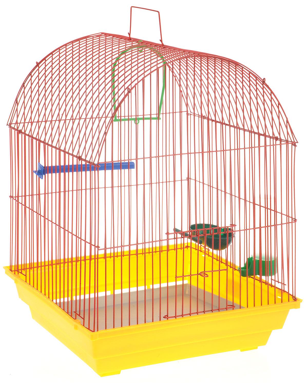 Клетка для птиц ЗооМарк, цвет: желтый поддон, красная решетка, 35 х 28 х 44,5 см440ЖККлетка ЗооМарк, выполненная из полипропилена и металла с эмалированным покрытием, предназначена для мелких птиц. Изделие состоит из большого поддона и решетки. Клетка снабжена металлической дверцей. В основании клетки находится малый поддон. Клетка удобна в использовании и легко чистится. Она оснащена жердочкой, кольцом для птицы, поилкой, кормушкой и подвижной ручкой для удобной переноски.