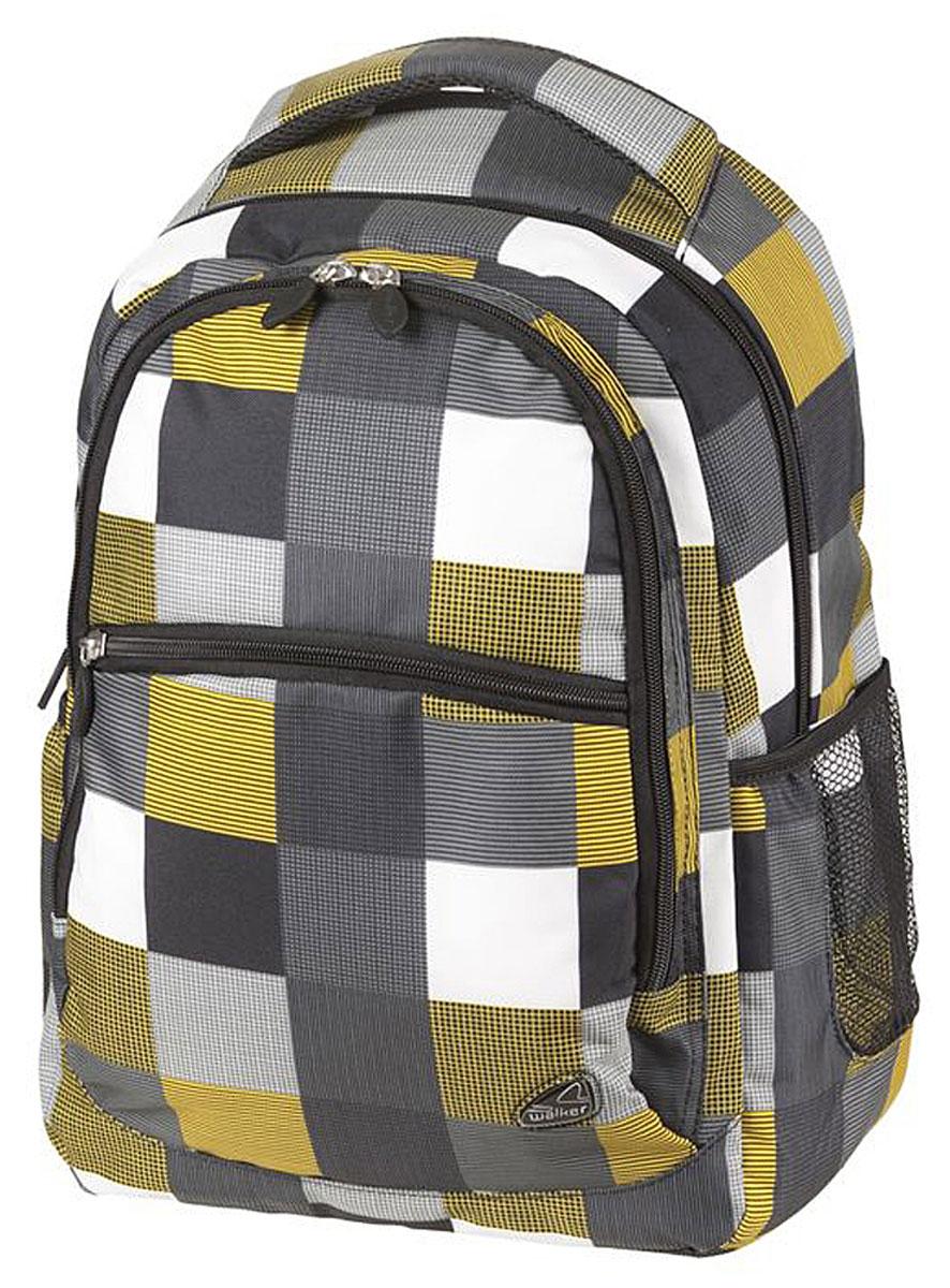 Walker Рюкзак Classic цвет черный желтый белый42264/117Рюкзак Walker Classic - это современный многофункциональный молодежный рюкзак, который выполнен из прочного износостойкого материала высокого качества. Рюкзак имеет два основных отделения, закрывающихся на молнии. Внутри основного отделения находится мягкий карман на хлястике с липучкой для планшета или ноутбука и пришитый кармашек на молнии. Внутри второго отделения имеется карман для телефона на хлястике с липучкой. По бокам рюкзака расположены открытые кармашки на резинках. Лицевая часть дополнена большим карманом на молнии. Рюкзак оснащен удобной текстильной ручкой для переноски. Уплотненная спинка и лямки помогают лучше распределить нагрузку и сохранить форму рюкзака независимо от его наполнения. Мягкие широкие лямки позволяют легко и быстро отрегулировать рюкзак в соответствии с ростом.