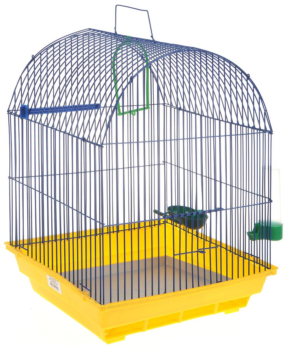 Клетка для птиц ЗооМарк, цвет: желтый поддон, синяя решетка, 35 х 28 х 45 см440ЖСКлетка ЗооМарк, выполненная из полипропилена и металла, предназначена для мелких птиц. Вы можете поселить в нее одну или две птицы. Изделие состоит из большого поддона и решетки. Клетка снабжена металлической дверцей, которая открывается и закрывается движением вверх-вниз. В основании клетки находится малый поддон. Клетка удобна в использовании и легко чистится. Она оснащена жердочкой, кольцом для птицы, кормушкой, поилкой и подвижной ручкой для удобной переноски. Комплектация: - клетка с поддоном, - малый поддон; - кормушка; - поилка; - кольцо.