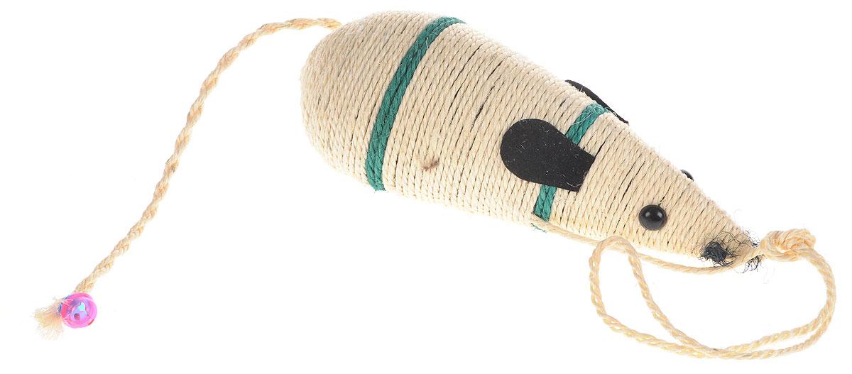 Когтеточка Triol Мышь, цвет: слоновая кость, зеленый, черный, длина 30,5 смКк-11400/NT-295A_ЗеленыйКогтеточка Triol Мышь может располагаться горизонтально или подвешиваться вертикально. Яркая расцветка дополнит интерьер вашей комнаты. Пластиковый колокольчик привлечет внимание вашего питомца. Структура материала когтеточки позволяет кошачьим лапкам проникать внутрь и извлекаться с высоким трением, так что ороговевшие частички когтя остаются внутри волокон. По своей природе сизаль обладает уникальным антистатическим свойством, следовательно, когтеточка не накапливает пыль, что является дополнительным привлекательным качеством, поскольку облегчает процесс уборки. Когтеточка Triol Мышь поможет вашему любимцу стачивать когти и при этом не портить вашу мебель.