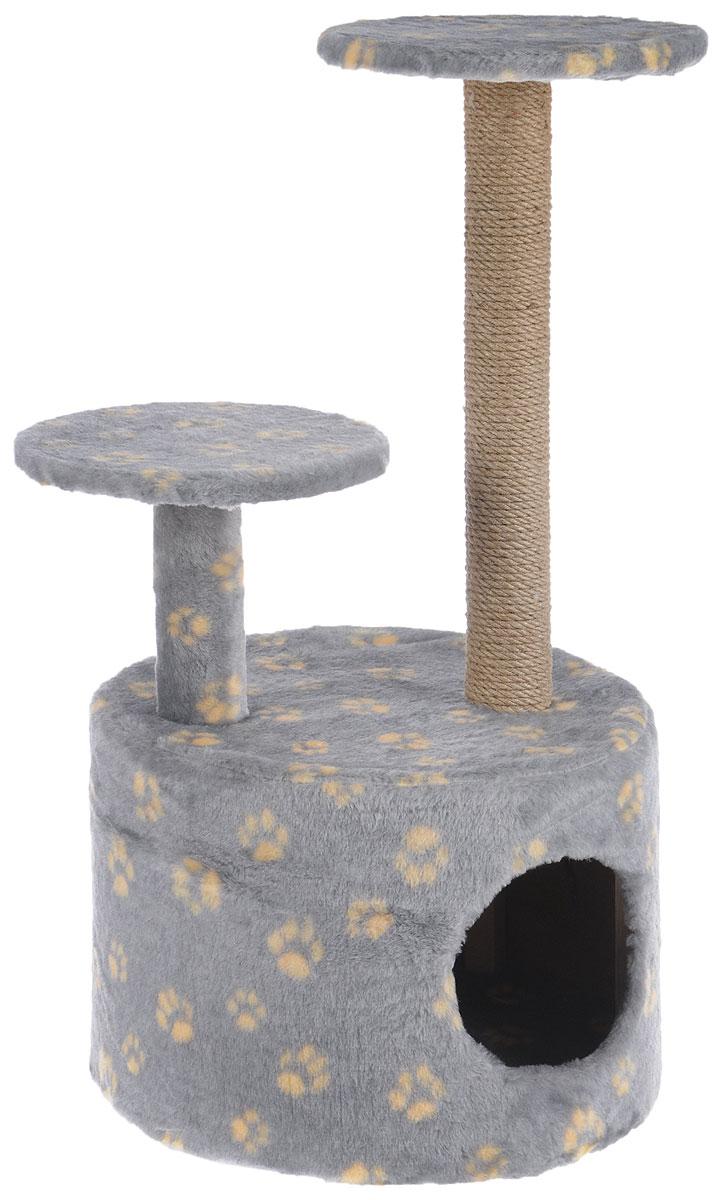 Игровой комплекс для кошек Меридиан, с когтеточкой и двумя полками, цвет: серый, желтый, бежевый, 40 х 40 х 81 смД514 ЛаИгровой комплекс для кошек Меридиан выполнен из высококачественного ДВП и ДСП и обтянут искусственным мехом. Изделие предназначено для кошек. Ваш домашний питомец будет с удовольствием точить когти о специальный столбик, изготовленный из джута. А отдохнуть он сможет либо на полках разной высоты, либо в расположенном внизу домике. Общий размер: 40 х 40 х 81 см. Размер домика: 40 х 40 х 28 см. Высота полок: 51 см, 24 см. Диаметр полок: 27 см.