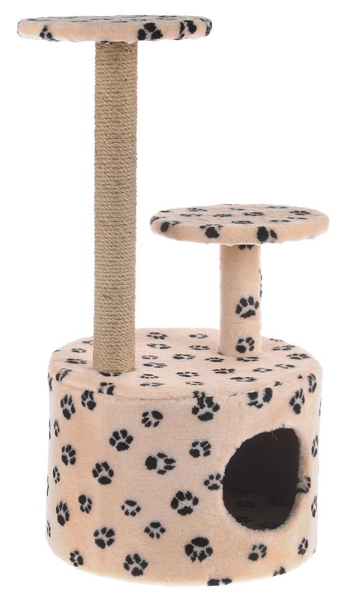 Игровой комплекс для кошек Меридиан, с когтеточкой и двумя полками, цвет: бежевый, черный, 40 х 40 х 81 смД514 ЛаИгровой комплекс для кошек Меридиан выполнен из высококачественного ДВП и ДСП и обтянут искусственным мехом. Изделие предназначено для кошек. Ваш домашний питомец будет с удовольствием точить когти о специальный столбик, изготовленный из джута. А отдохнуть он сможет либо на полках разной высоты, либо в расположенном внизу домике. Общий размер: 40 х 40 х 81 см. Размер домика: 40 х 40 х 28 см. Высота полок: 51 см, 24 см. Диаметр полок: 27 см.