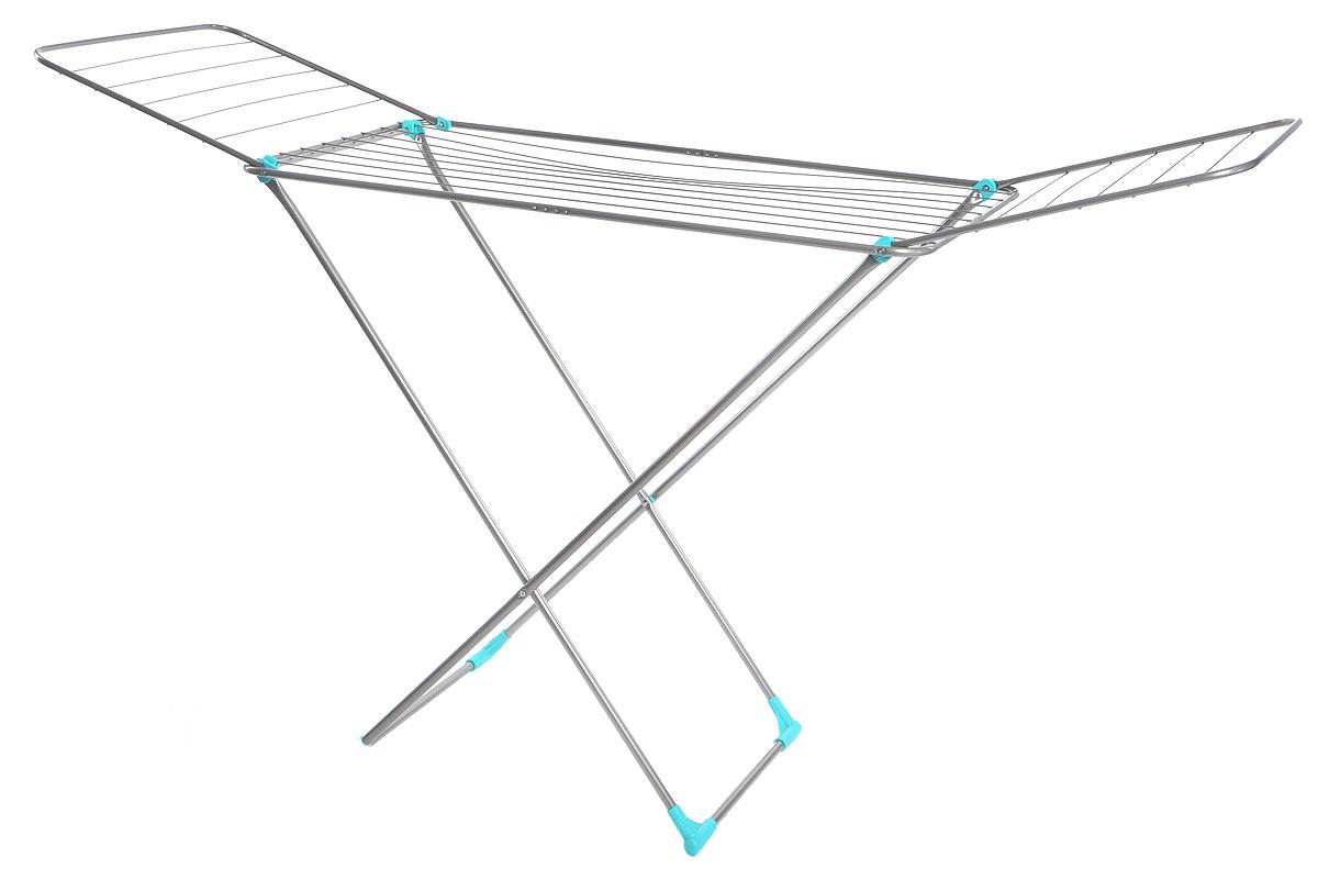 Сушилка для белья Nika, напольная, цвет: серый, бирюзовый, 180 х 108 х 54 смСБ1Напольная сушилка для белья Nika проста и удобна в использовании, компактно складывается, экономя место в вашей квартире. Сушилку можно использовать на балконе или дома. Сушилка оснащена складными створками для сушки одежды во всю длину, а также имеет специальные пластиковые крепления в основе стоек, которые не царапают пол. Размер сушилки в разложенном виде: 180 х 108 х 54 см. Размер сушилки в сложенном виде: 130 х 54 х 2,5 см. Длина сушильного полотна: 18 м.