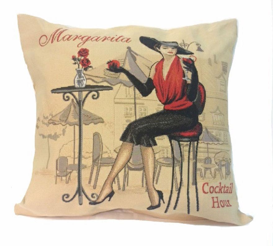 Подушка декоративная Рапира Кафе Маргарита, 45 х 45 см4379Декоративная подушка с наполнителем холлофайбер со съёмным чехлом на молнии, выполненным из жаккарда, - это яркий штрих в интерьере комнаты. Лицевая сторона - гобелен (жаккардовое ткачество), оборотная сторона - однотонная ткань типа плюш.