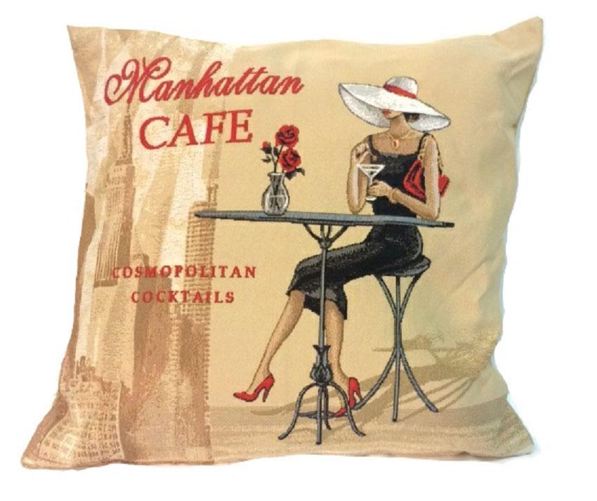 Подушка декоративная Рапира Кафе Манхэттен, 45 х 45 см4386Декоративная подушка с наполнителем холлофайбер со съёмным чехлом на молнии, выполненным из жаккарда, - это яркий штрих в интерьере комнаты. Лицевая сторона - гобелен (жаккардовое ткачество), оборотная сторона - однотонная ткань типа плюш.