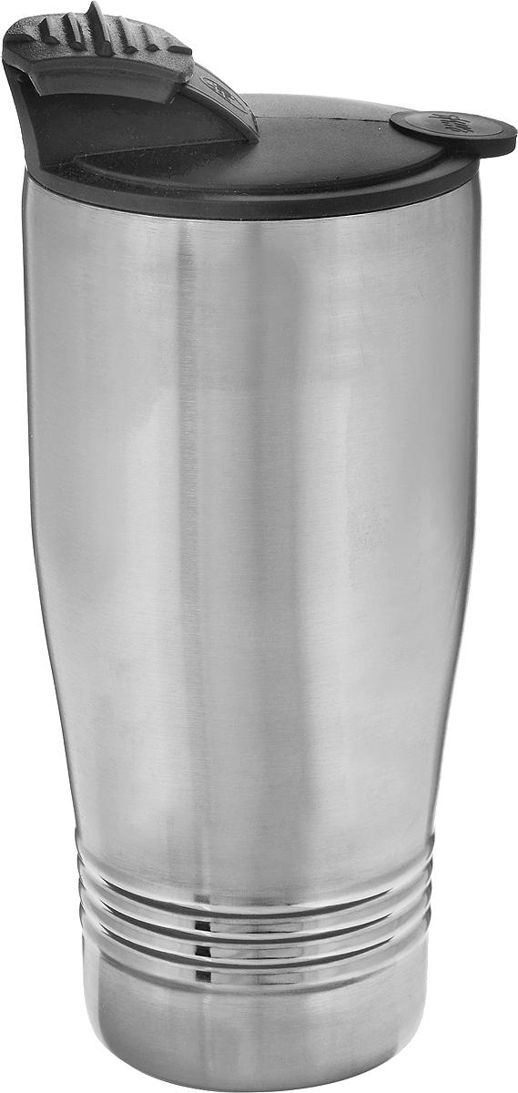 Термокружка Emsa Senator Travel Cup, цвет: серый, черный, 400 мл1751401600Термокружка Emsa Senator Travel Cup - это идеальный попутчик в дороге - не важно, по пути ли на работу, в школу или во время похода по магазинам. Вакуумная кружка на 100% герметична. Кружка имеет двустенную вакуумную колбу из нержавеющей стали, благодаря чему температура жидкости сохраняется долгое время. Изделие открывается нажатием кнопки. Дно кружки выполнено из пластика, что препятствует скольжению. Диаметр кружки по верхнему краю: 7,8 см. Диаметр дна кружки: 6 см. Высота кружки: 15,5 см. Сохранение холодной температуры: 8 ч. Сохранение горячей температуры: 4 ч.