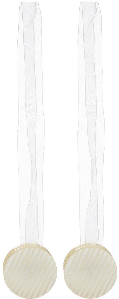 Подхват для штор TexRepublic Ajur. Lenta, на магнитах, цвет: слоновая кость, диаметр 4 см, 2 шт. 7900679006Изящный подхват для штор TexRepublic Ajur. Lenta, выполненный из пластика и текстиля, можно использовать как держатель для штор или для формирования декоративных складок на ткани. С его помощью можно зафиксировать шторы или скрепить их, придать им требуемое положение, сделать симметричные складки. Благодаря магнитам подхват легко надевается и снимается. Подхват для штор является универсальным изделием, которое превосходно подойдет для любых видов штор. Подхваты придадут шторам восхитительный, стильный внешний вид и добавят уют в интерьер помещения. Длина подхвата: 36 см. Диаметр: 4 см. Количество: 2 шт.