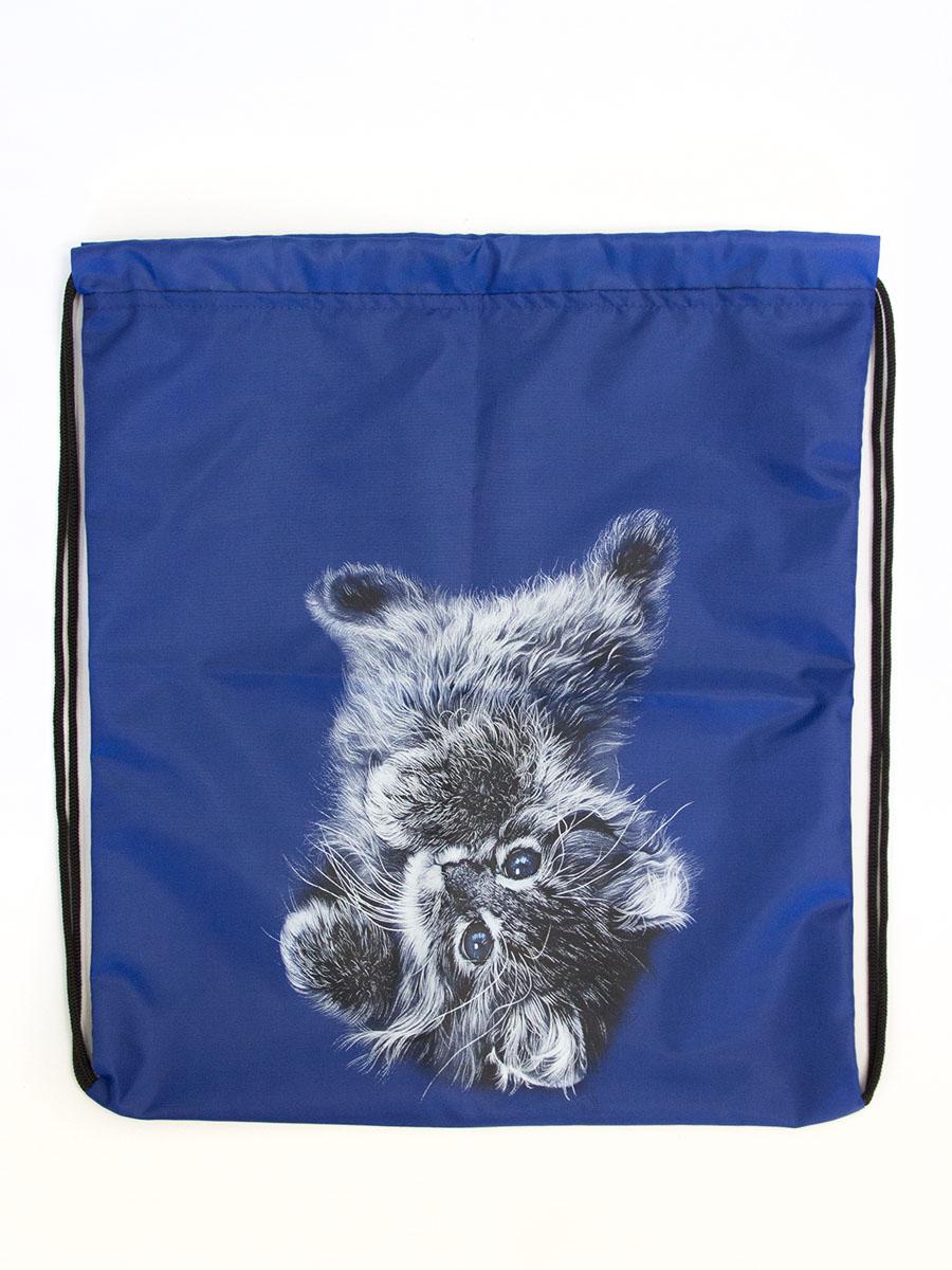 Сумка-мешок детская MF Сиреневый котик, цвет: синий. 5-1. Размер 40 см х 40 см5-1