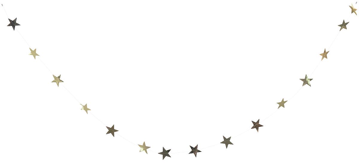Гирлянда декоративная Winter Wings Звездочки, цвет: золотой, 8 см х 2,7 мN09163_золотойНовогодняя декоративная растяжка Winter Wings Звездочки прекрасно подойдет для декора дома и праздничной елки. Украшение выполнено из ПВХ. С помощью пластиковых колец растяжку можно повесить в любом понравившемся вам месте. Новогодние украшения несут в себе волшебство и красоту праздника. Они помогут вам украсить дом к предстоящим праздникам и оживить интерьер по вашему вкусу. Создайте в доме атмосферу тепла, веселья и радости, украшая его всей семьей.