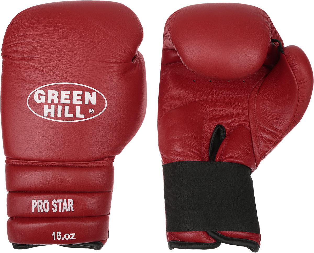 Перчатки боксерские Green Hill Pro Star, цвет: красный, белый. Вес 16 унций. BGPS-2012BGPS-2012Тренировочные боксерские перчатки Green Hill Pro Star отлично подойдут для спаррингов. Верх выполнен из натуральной кожи, наполнитель - из вспененного полимера. Отверстие в области ладони позволяет создать максимально комфортный терморежим во время занятий. Удлиненный сегментированный манжет способствует быстрому и удобному надеванию перчаток, плотно фиксирует их на руке.