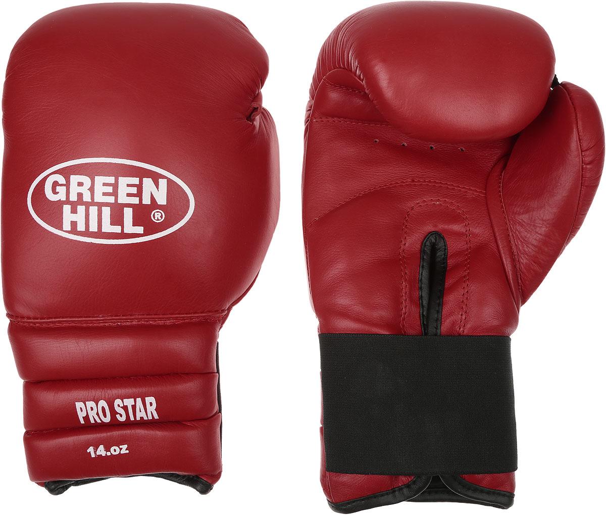 Перчатки боксерские Green Hill Pro Star, цвет: красный, белый. Вес 14 унций. BGPS-2012BGPS-2012Тренировочные боксерские перчатки Green Hill Pro Star отлично подойдут для спаррингов. Верх выполнен из натуральной кожи, наполнитель - из вспененного полимера. Отверстие в области ладони позволяет создать максимально комфортный терморежим во время занятий. Удлиненный сегментированный манжет способствует быстрому и удобному надеванию перчаток, плотно фиксирует их на руке.