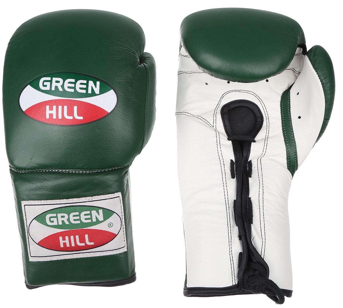 Перчатки боксерские Green Hill Proffi, цвет: зеленый, белый. Вес 14 унций. BGP-2014BGP-2014Боксерские перчатки Green Hill Proffi предназначены для использования профессионалами. Верх выполнен из натуральной кожи, наполнитель - из вспененного полимера. Отверстие в области ладони позволяет создать максимально комфортный терморежим во время занятий. Манжет на шнуровке способствует быстрому и удобному надеванию перчаток, плотно фиксирует перчатки на руке.