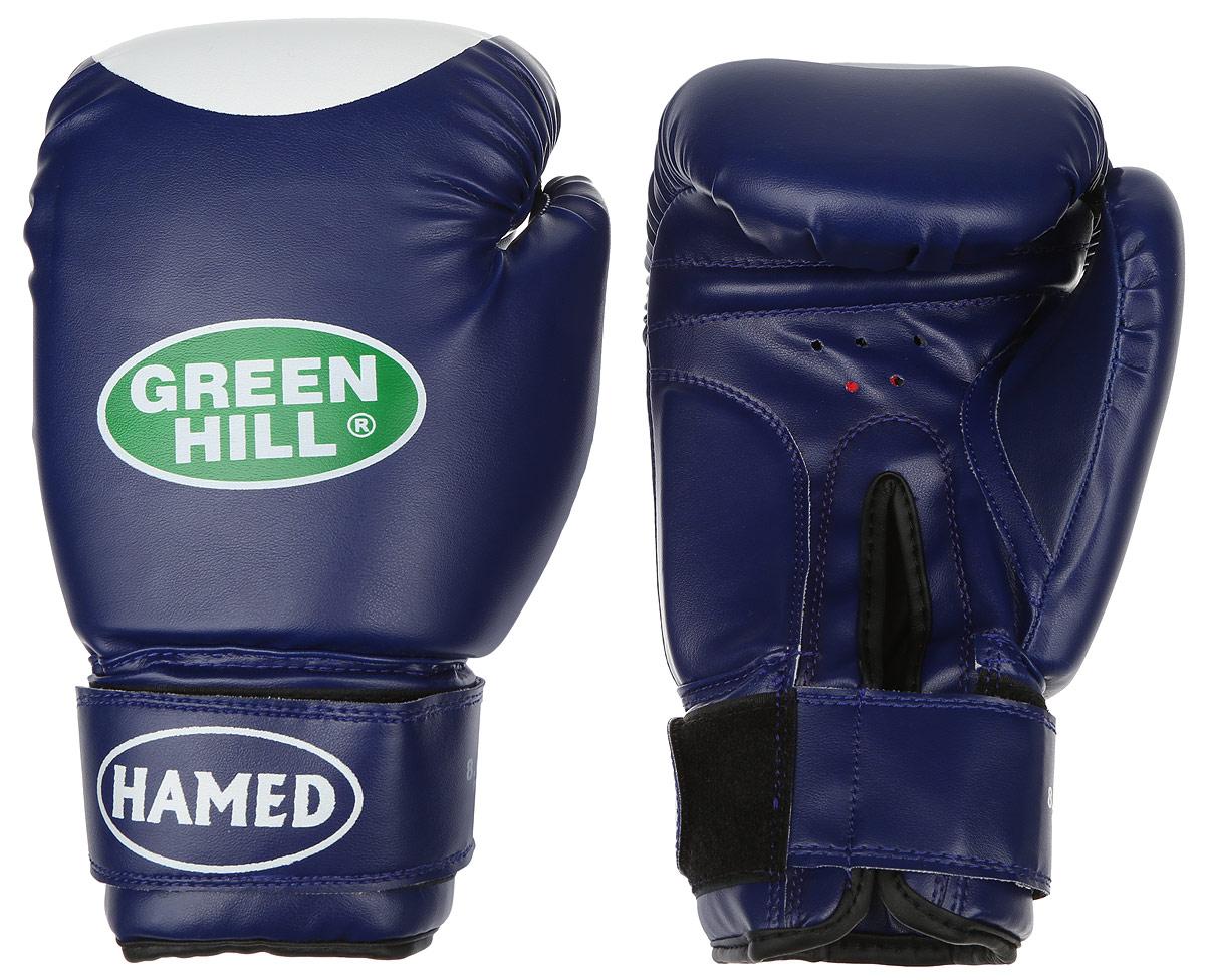 Перчатки боксерские Green Hill Hamed, цвет: синий, белый. Вес 8 унцийBGHT-2036Боксерские перчатки Green Hill Hamed прекрасно подойдут для прогрессирующих спортсменов. Верх выполнен из искусственной кожи, наполнитель - из пенополиуретана. Перфорированная поверхность в области ладони позволяет создать максимально комфортный терморежим во время занятий. Широкий ремень, охватывая запястье, полностью оборачивается вокруг манжеты, благодаря чему создается дополнительная защита лучезапястного сустава от травмирования. Перчатки прекрасно сидят на руке. Застежка на липучке способствует быстрому и удобному надеванию перчаток, плотно фиксирует перчатки на руке.